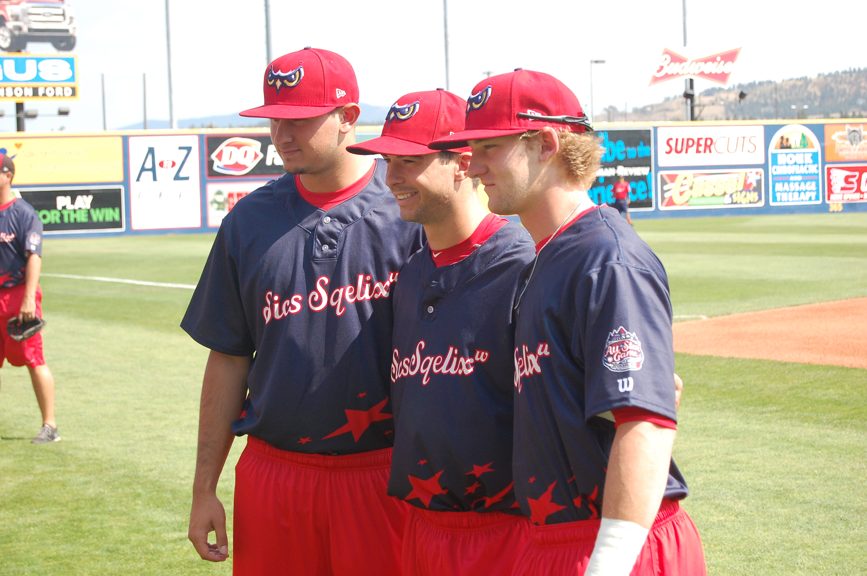 Joe Gatto (left) with two of his teammates from the Orem Owlz at the All-Star game.