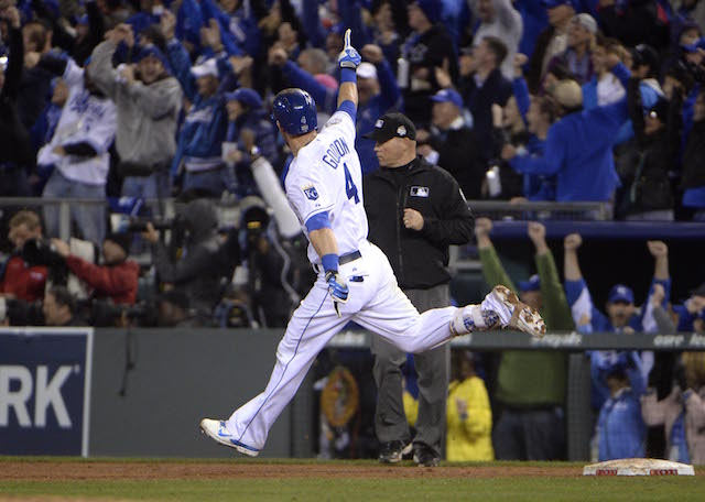 Oct 27, 2015; Kansas City, MO, USA; Kansas City Royals left fielder Alex Gordon (4) reacts after hitting a solo home run against the New York Mets in the 9th inning in game one of the 2015 World Series at Kauffman Stadium. Mandatory Credit: John Rieger-USA TODAY Sports
